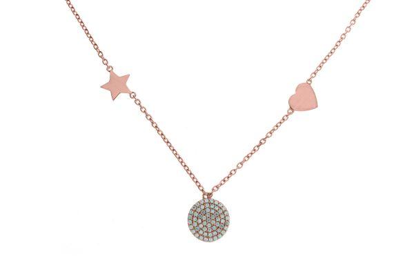 Collier mit Herz, Scheibe und Stern