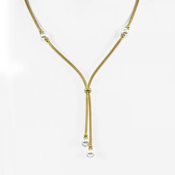 Y-Collier mit Perlen (925)
