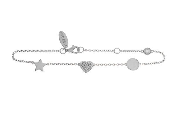 Armband mit Herz, Stern & Scheibe