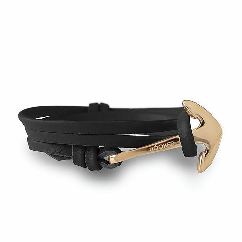 Hooked Anchor + leather straps (Black)