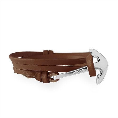 Hooked Anchor + leather straps (Dark Brown)