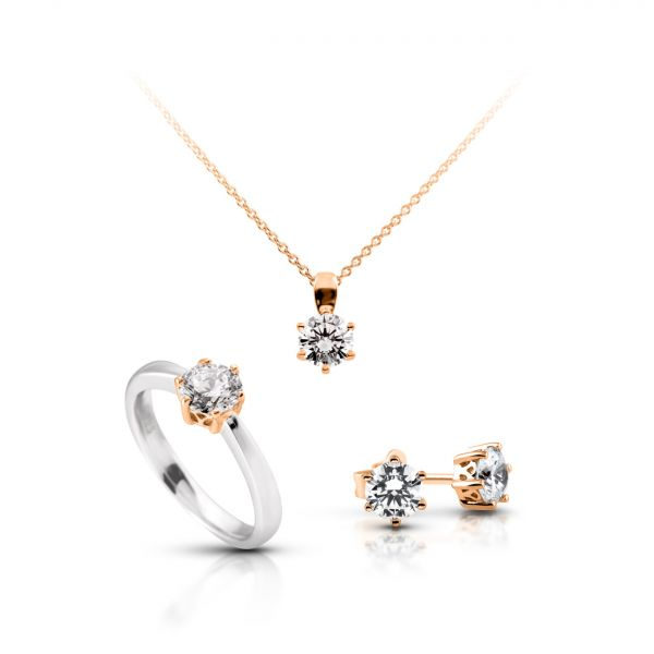 Diamonfire Solitär-Set Bicolor (925)